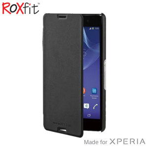This officially licensed book flip case by Roxfit houses the Sony Xperia M4 Aqua within a form fitting hard case and encloses it in a soft rubber inner lining and a black leather-style cover.
