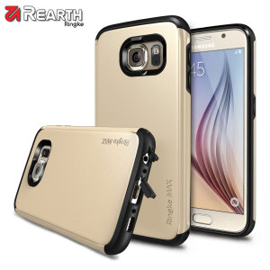 Provide your Samsung Galaxy S6 with slim yet heavy duty protection with this gold Ringke dual-layered armour case. The stylish design and soft touch finish preserve the aesthetics and feel of the S6 perfectly.