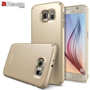 Provide your Samsung Galaxy S6 with ultra-thin, tough snap-on protection with this Ringke Slim gold polycarbonate case.