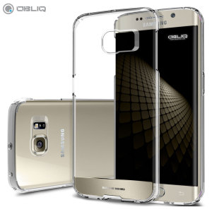 Keep your Samsung Galaxy S6 Edge protected from damage with the durable and attractive clear and gold polycarbonate shell case from Obliq.