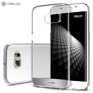 Keep your Samsung Galaxy S6 Edge protected from damage with the durable and attractive clear and silver polycarbonate shell case from Obliq.