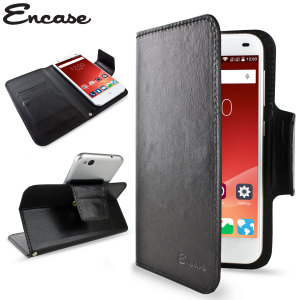 Wrap your ZTE Blade S6 in luxurious, sophisticated protection with the black Encase Leather-Style Wallet Stand Case. This stylish case has credit card slots and can transform into a convenient viewing stand which rotates between portrait and landscape.
