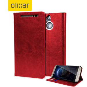 Protect your HTC One M9 Plus in elegant luxury with a leather-style wallet case in red. This Olixar case also includes a viewing stand, perfect for web browsing and watching media with friends and family.