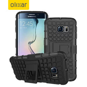 Protect your Samsung Galaxy S6 Edge from bumps and scrapes with this black ArmourDillo case from Olixar. Comprised of an inner TPU case and an outer impact-resistant exoskeleton, with a built-in viewing stand.