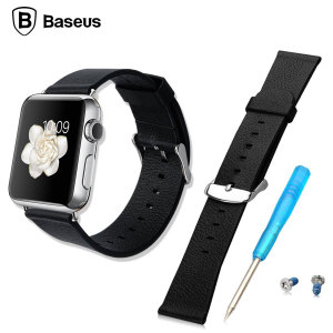 Bracelet Apple Watch 2 / 1 Baseus 42mm en Cuir - Noir