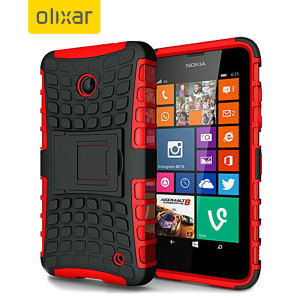 Protect your Microsoft Lumia 535 from bumps and scrapes with this red ArmourDillo case from Olixar. Comprised of an inner TPU case and an outer impact-resistant exoskeleton, with a built-in viewing stand.