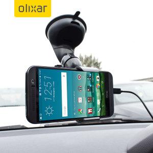 Artículos esenciales que necesitará para su smartphone durante un viaje en coche. Este pack de coche Olixar DriveTime incluye un soporte de coche y un cargador para su HTC One M9