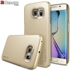 Provide your Samsung Galaxy S6 Edge with ultra-thin, tough snap-on protection with this Ringke Slim gold polycarbonate case.