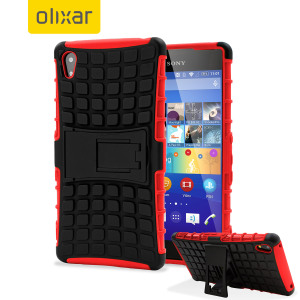 Protect your Sony Xperia Z3+ from bumps and scrapes with this red ArmourDillo case from Olixar. Comprised of an inner TPU case and an outer impact-resistant exoskeleton, with a built-in viewing stand.