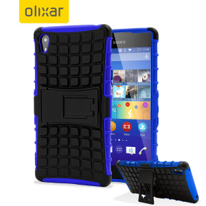 Protect your Sony Xperia Z3+ from bumps and scrapes with this blue ArmourDillo case from Olixar. Comprised of an inner TPU case and an outer impact-resistant exoskeleton, with a built-in viewing stand.