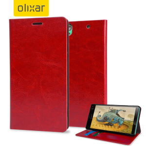 Protect your Sony Xperia C4 with this durable and stylish red leather-style wallet case by Olixar. What's more, this case transforms into a handy stand to view media.