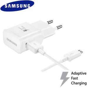 Official Samsung Fast Charger EU Wall Plug W/ Micro USB Cable - White