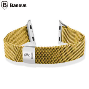With this beautiful woven stainless steel mesh  Milinese wrist strap in gold from Baseus, express yourself and customise your new Series 2 / 1 Apple Watch 38mm to suit your personal sense of style.