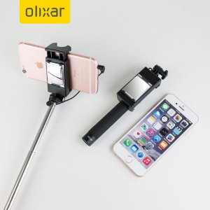 Take the perfect selfie with absolutely no one left out with Olixar's selfie stick with shutter button for iPhone & Android devices. Mirror allowing for powerful rear facing camera use, no recharging required and so portable it can be placed in a handbag!