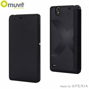 Keep your Sony Xperia C4 protected from damage and looking fantastic with this executive premium leather-style easy folio case by Muvit in black.
