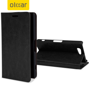 A sophisticated lightweight black leather-style case with a magnetic fastener for ease of use. The Olixar leather-style wallet case offers perfect protection for your Sony Xperia A4 and also includes a built-in stand.