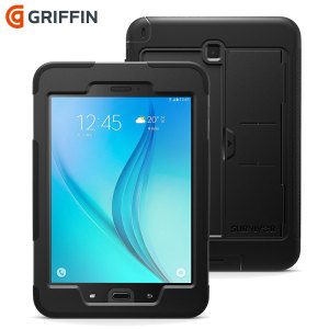 All the protection of a Griffin Survivor in a slimline package for your Samsung Galaxy Tab A 8.0. Featuring tough, rugged multi-layered protection, the Griffin Survivor Slim in black provides exceptional protection and a media kickstand.