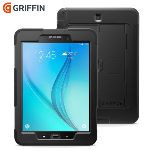 All the protection of a Griffin Survivor in a slimline package for your Samsung Galaxy Tab A 9.7. Featuring tough, rugged multi-layered protection, the Griffin Survivor Slim in black provides exceptional protection and a media kickstand.