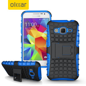 Protect your Samsung Galaxy Core Prime from bumps and scrapes with this blue ArmourDillo case. Comprised of an inner TPU case and an outer impact-resistant exoskeleton, with a built-in viewing stand.