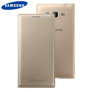 Protect your Samsung Galaxy Grand Prime screen from harm and keep your most vital cards close to hand with the official gold flip wallet cover from Samsung.