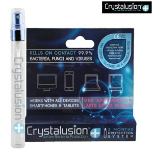 Crystalusion Plus comes in a spray bottle and is so good at protecting your screen from bacteria and microbes that it has been registered as a class IIa medical device!
