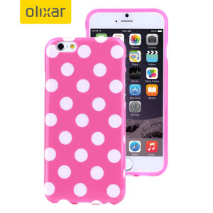 Custom moulded for the iPhone 6S Plus / 6 Plus. This Pink Polka Dot FlexiShield case from Olixar provides a slim fitting stylish design and durable protection against damage, keeping your iPhone looking great at all times.