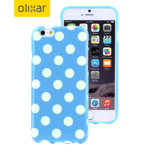 Custom moulded for the iPhone 6S Plus / 6 Plus. This Blue Polka Dot FlexiShield case from Olixar provides a slim fitting stylish design and durable protection against damage, keeping your iPhone looking great at all times.