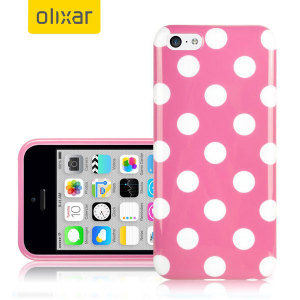 Custom moulded for the iPhone 5C. This Pink Polka Dot FlexiShield case from Olixar provides a slim fitting stylish design and durable protection against damage, keeping your iPhone looking great at all times.
