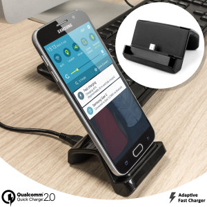 Dock and charge your Qualcomm Quick Charge 2.0 and Fast Charging compatible phones at rapid speed with this amazing kit. Featuring Dock stand, Qualcomm Quick Charge 2.0 mains charger and optimised charging cable.
