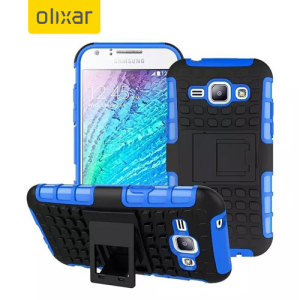 Protect your Samsung Galaxy J1 2015 from bumps and scrapes with this blue ArmourDillo case. Comprised of an inner TPU case and an outer impact-resistant exoskeleton, with a built-in viewing stand.