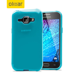 Custom moulded for the Samsung Galaxy J1 2015, this blue Olixar FlexiShield case provides slim fitting and durable protection against damage.