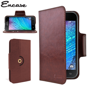 Wrap your Samsung Galaxy J1 2015 in luxurious, sophisticated protection with the brown Encase Leather-Style Wallet Stand Case. This stylish case has credit card slots and can transform into a convenient viewing stand.