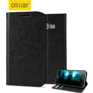 Protect your Samsung Galaxy J1 2015 with this elegant and luxurious leather-effect wallet case from Olixar in black. This stylish wallet case stores your cards and also includes a viewing stand, perfect for watching movies with friends and family.
