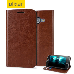 Protect your Samsung Galaxy J1 2015 with this elegant and luxurious leather-effect wallet case from Olixar in brown. This stylish wallet case stores your cards and also includes a viewing stand, perfect for watching movies with friends and family.