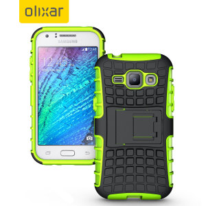 Protect your Samsung Galaxy J1 2015 from bumps and scrapes with this green ArmourDillo case. Comprised of an inner TPU case and an outer impact-resistant exoskeleton, with a built-in viewing stand.
