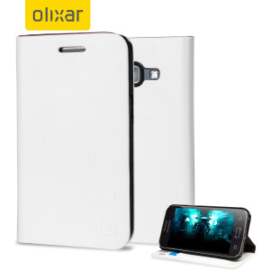 Protect your Samsung Galaxy J1 2015 with this elegant and luxurious leather-effect wallet case from Olixar in white. This stylish wallet case stores your cards and also includes a viewing stand, perfect for watching movies with friends and family.