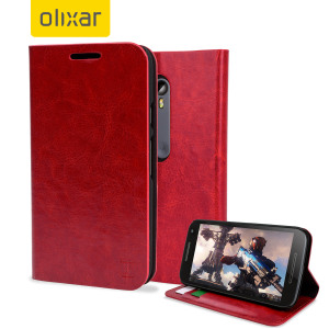 The Olixar leather-style Motorola Moto G 3rd Gen Wallet Case in red attaches to the back of your phone to provide enclosed protection and can also be used to hold your credit cards.
