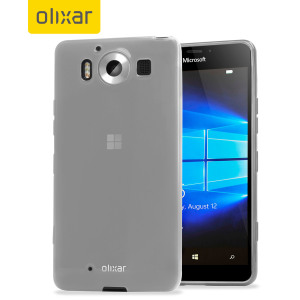 Custom moulded for the Microsoft Lumia 950, this frost white FlexiShield case by Olixar provides slim fitting and durable protection against damage.