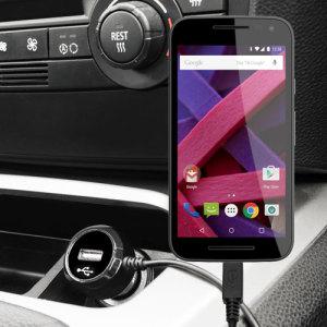 Mantenga su Motorola Moto G 3ª Gen cargado mientras permanezca en su vehículo gracias a este cargador de coche Olixar de carga rápida a 2.4A. Con cable de diseño de espiral, ideal para tener el cable siempre recogido. ¡Además incluye un puerto USB para cargar un dispositivo extra!
