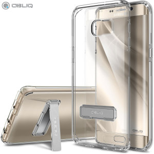 Protect the back and sides of your Samsung Galaxy S6 Edge+ while preserving the sleek aesthetics with the clear bumper case from Obliq. Complete with a kickstand, the Naked Shield series allows you to stand your phone for convenient viewing.