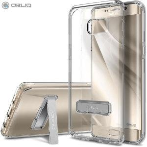 Mantenga su Samsung Galaxy S6 S6 Edge+ protegido de daños con esta funda de policarbonato transparente y dorada muy resistente y atractiva de la marca Obliq.