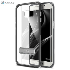 Protect the back and sides of your Samsung Galaxy S6 Edge+ while preserving the sleek aesthetics with the clear and smoke black bumper case from Obliq. Complete with a kickstand, the Naked Shield allows you to stand your phone for convenient viewing.
