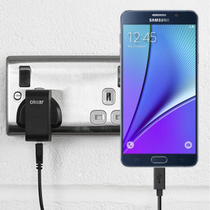 Charge your Samsung Galaxy Note 5 quickly and conveniently with this 2.4A high power charging kit. Featuring mains adapter and USB cable.