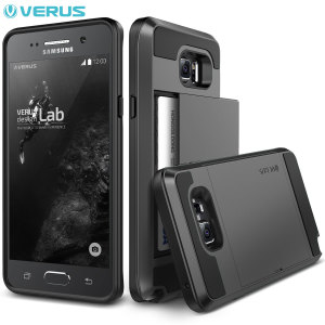 Protect your Samsung Galaxy Note 5 with this precisely designed case in steel silver from Verus. Made with tough yet slim material, this hard shell construction with soft core features patented sliding technology to store two credit cards or ID.