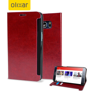 Protect your Samsung Galaxy S6 Edge+ with this durable and stylish red leather-style wallet case from Olixar. What's more, this case transforms into a handy stand to view media.