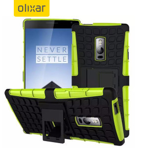 Protect your OnePlus 2 with this green Olixar ArmourDillo Protective Case, comprised of an inner TPU case and an outer impact-resistant exoskeleton.