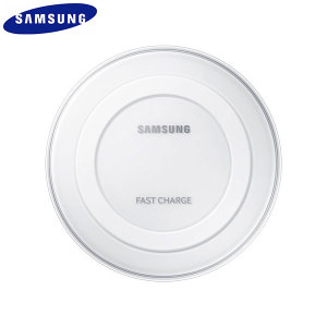 Wirelessly charge your Galaxy Note5 and S6 Edge+ with Wireless Fast Charge technology using this official Samsung Qi Wireless Charging Pad in white, featuring intelligent circuit protection.