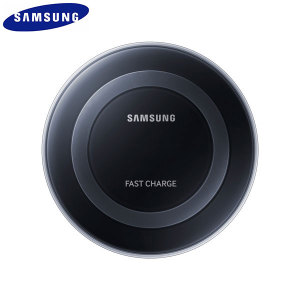 Wirelessly charge your Galaxy Note5 and S6 Edge+ with Wireless Fast Charge technology using this official Samsung Qi Wireless Charging Pad in black, featuring intelligent circuit protection.