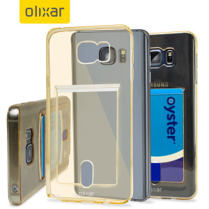 Custom moulded for the Samsung Galaxy Note 5. This gold tinted FlexiShield Slot case provides a slim fitting stylish design and durable protection against damage, while adding the convenience of a card slot into the bargain!