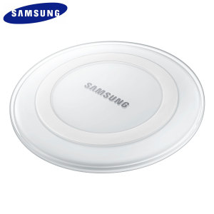 Wirelessly charge your Galaxy S6 Edge+ with ease using this white official Samsung Qi Wireless Charger Pad featuring intelligent circuit protection.